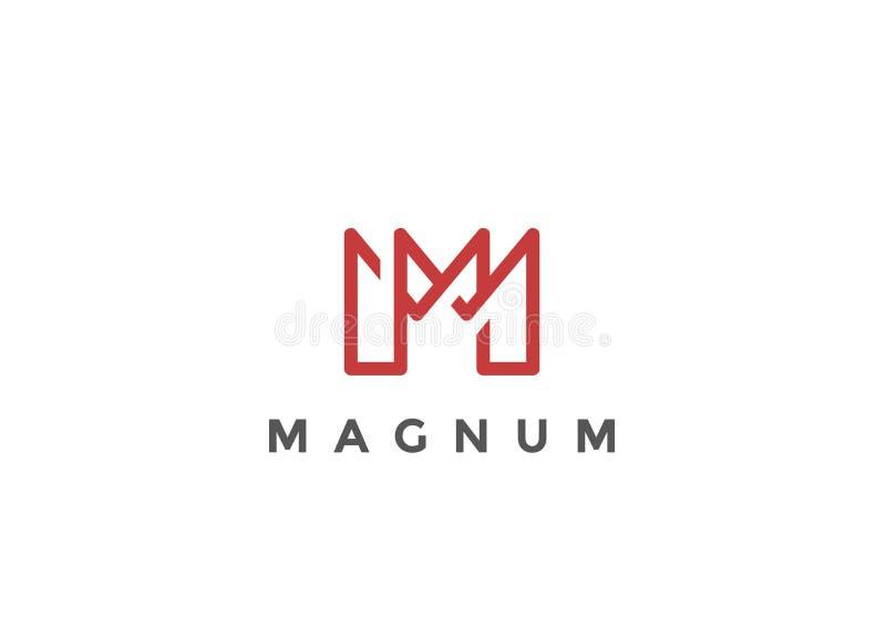 Affare lineare di vettore della lettera m. Logo Monogram royalty illustrazione gratis