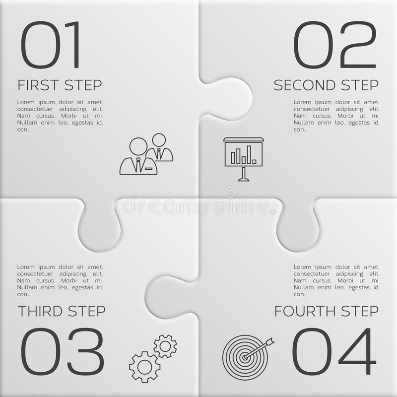 Affare moderno infographic per la vostra presentazione Quattro punti a successo Parti di puzzle Vettore royalty illustrazione gratis