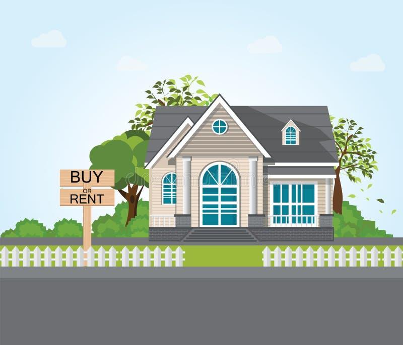 Affare o affitto del messaggio di testo sul cartello di legno illustrazione di stock