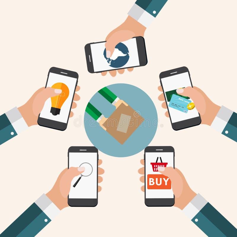 Affare online di concetto mobile di Apps, acquisto, commercio elettronico nel MOD royalty illustrazione gratis