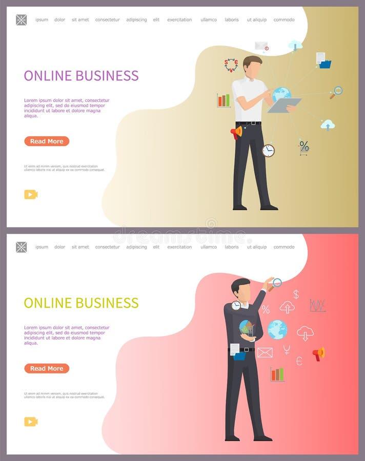 Affare online, lavoratore con Access ad Internet illustrazione vettoriale