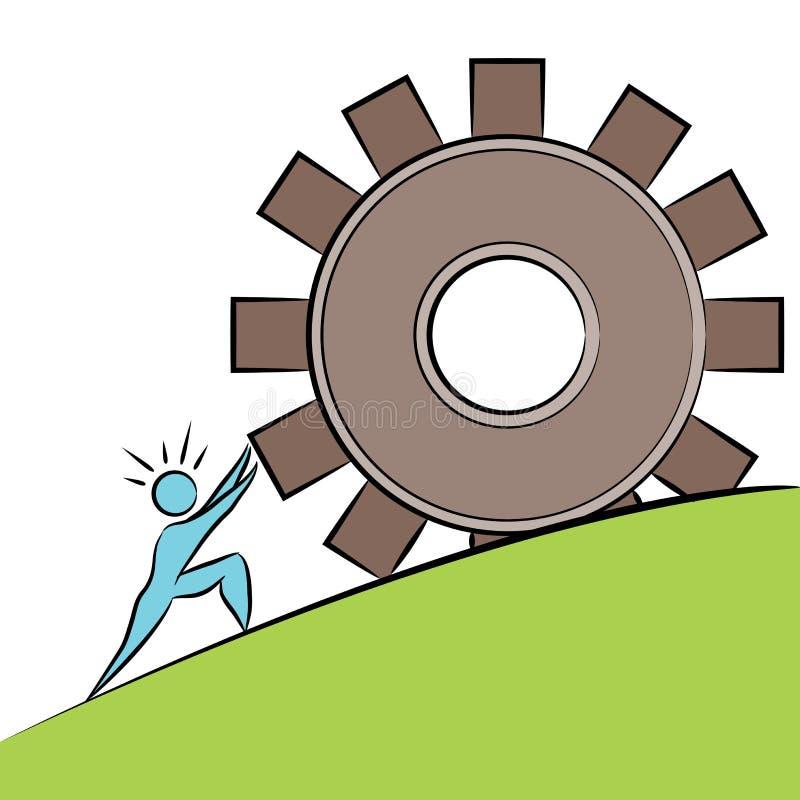 Affare Person Pushing Gear Uphill illustrazione vettoriale