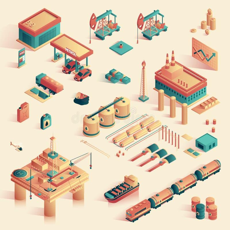 Affare in raffineria Mini Plant Isometric 3d illustrazione vettoriale