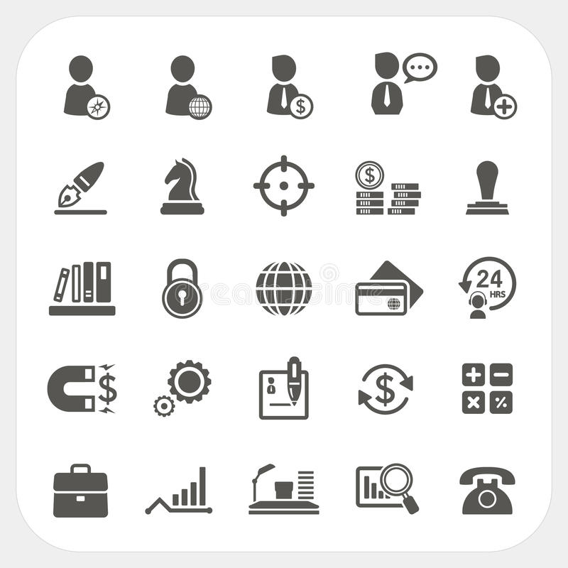 Affare, risorsa umana ed icone di finanza messe illustrazione di stock