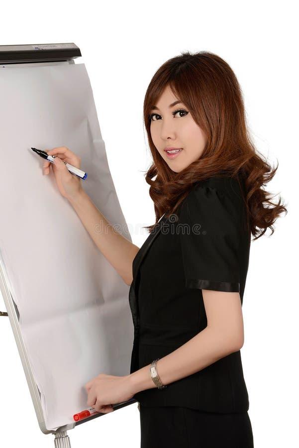 Affare, riunione e istruzione - donna di affari con flipchart immagini stock libere da diritti