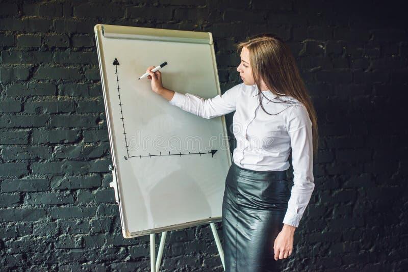 Affare, riunione e istruzione - donna di affari con flipchart in ufficio immagini stock libere da diritti
