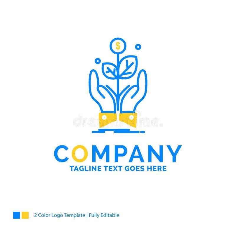 affare, società, crescita, pianta, logo giallo blu di affari di aumento illustrazione vettoriale