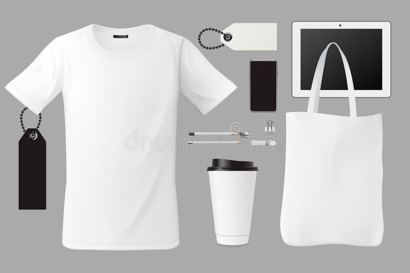 Affare stabilito del modello di identità di marca che marca a caldo progettazione corporativa del modello, maglietta, borsa, tazz illustrazione vettoriale