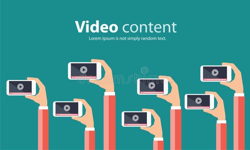 Affare sulla linea video concetto del contenuto di vendita illustrazione vettoriale