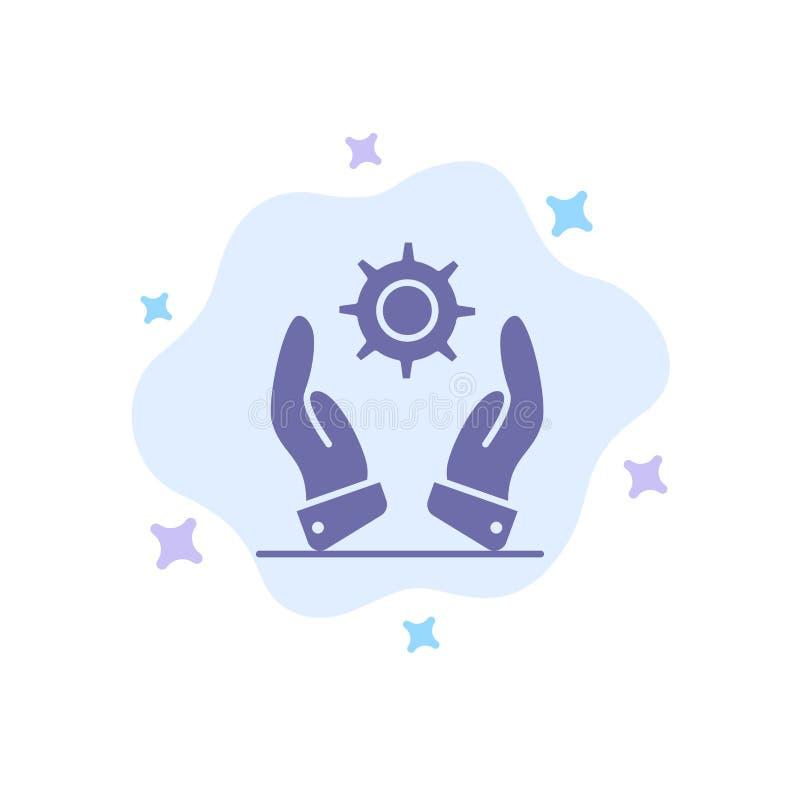 Affare, sviluppo, moderno, icona blu delle soluzioni sul fondo astratto della nuvola illustrazione vettoriale