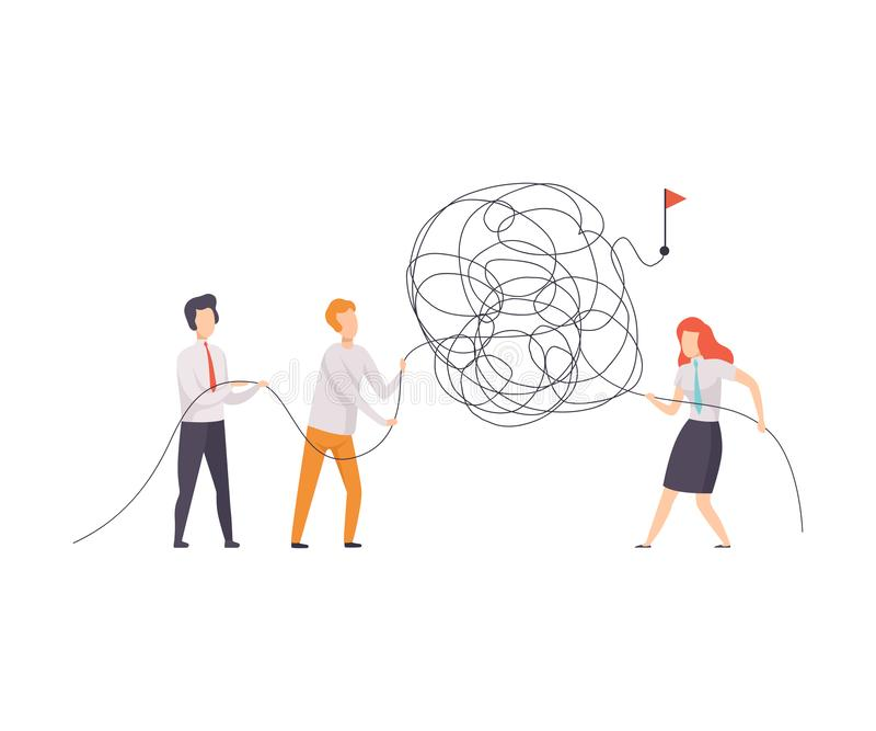 Affare Team Searching per i modi al simbolo di successo, colleghi di ufficio che risolvono problema complicato, lavoro di squadra illustrazione di stock