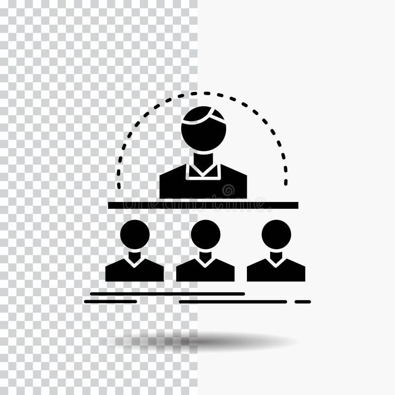 Affare, vettura, corso, istruttore, icona di glifo del mentore su fondo trasparente Icona nera illustrazione di stock