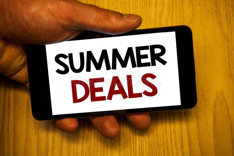 Affari di estate di scrittura del testo della scrittura Il concetto che significa le vendite speciali offre per gli sconti dei pr immagini stock