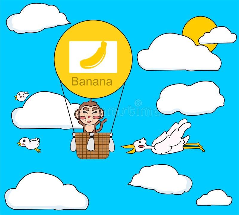 Affe auf Luftballon lizenzfreie stockfotos