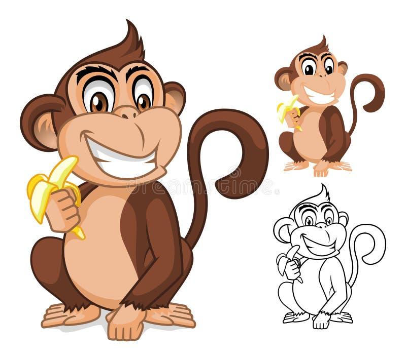 Affe, der Bananen-Zeichentrickfilm-Figur hält lizenzfreie abbildung