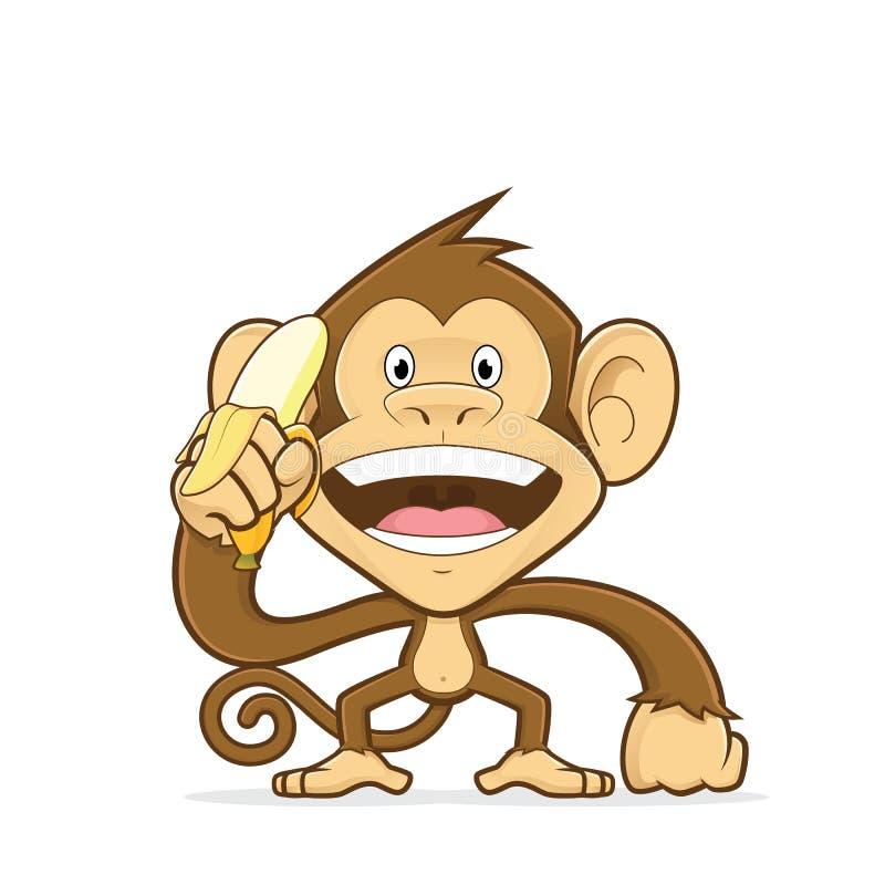 Affe, der eine Banane hält lizenzfreie abbildung