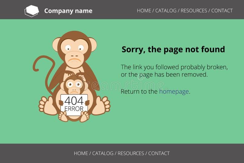 Affe, der nach Flöhen sucht Gefundener Fehler 404 der Seite nicht lizenzfreie abbildung
