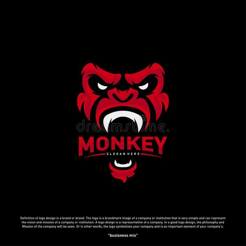 Affe-Gorilla Esport-Spielmaskottchenlogo-Schablone Vektor Moderner Hauptaffe Logo Vector stock abbildung