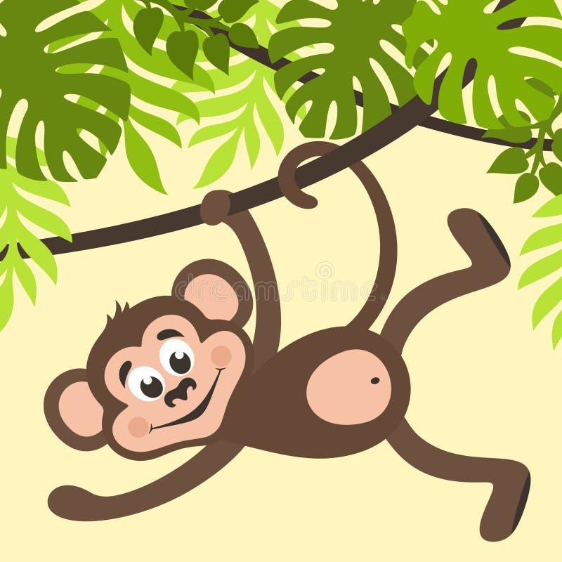 Affe hängt an einer Kriechpflanze vektor abbildung