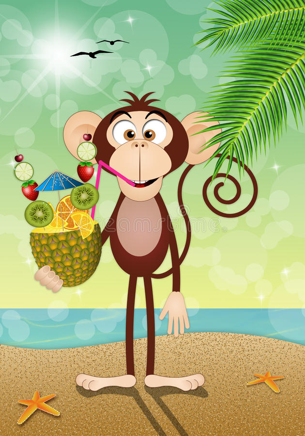 Affe mit Ananas auf dem Strand vektor abbildung