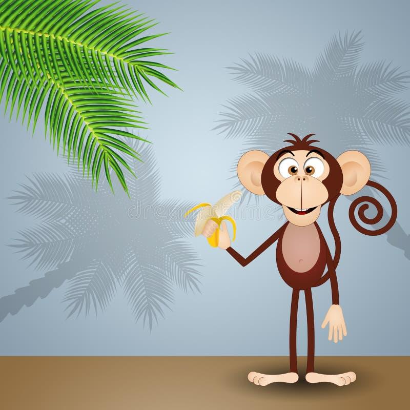 Affe mit Banane vektor abbildung