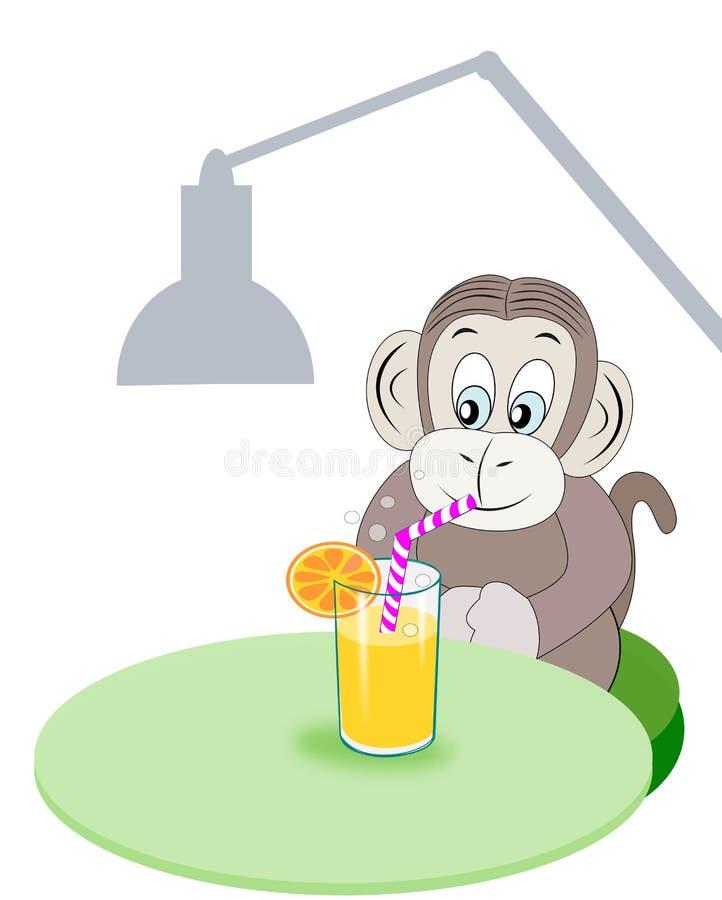 Affe mit Erfrischung stock abbildung