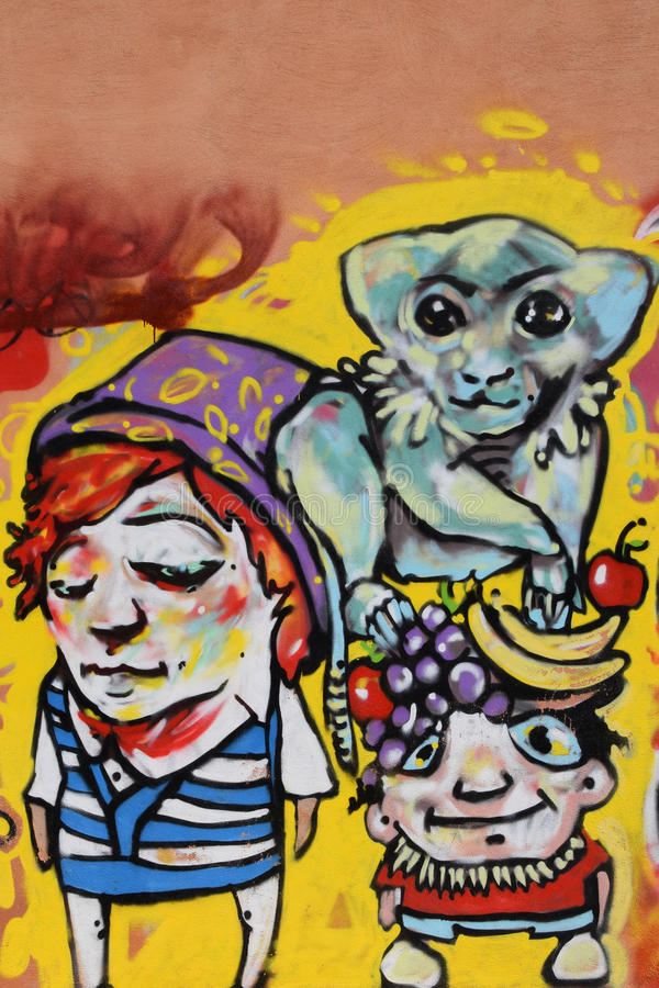 Affe mit Fruchtgraffiti stockfotografie