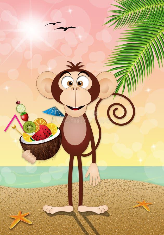 Affe mit Kokosnussgetränk auf dem Strand lizenzfreie abbildung