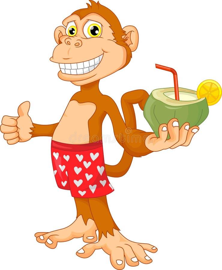 Affe mit Kokosnusskarikatur vektor abbildung