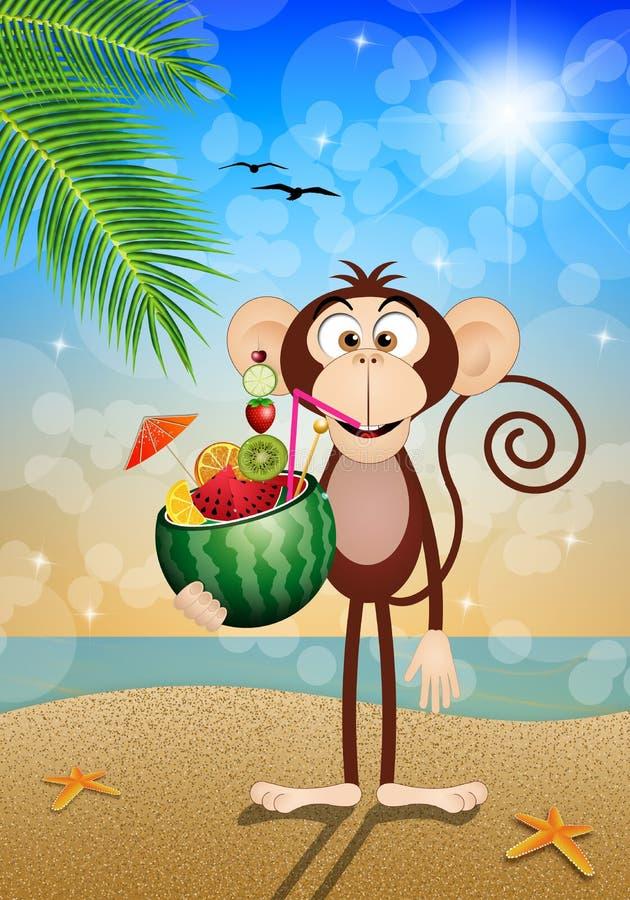 Affe mit Wassermelone auf dem Strand lizenzfreie abbildung