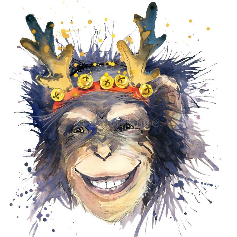 Affe-neues Jahr-T-Shirt Grafiken albern Sie Jahrillustration mit Spritzenaquarell Texturhintergrund herum ungewöhnliches Illustra stock abbildung