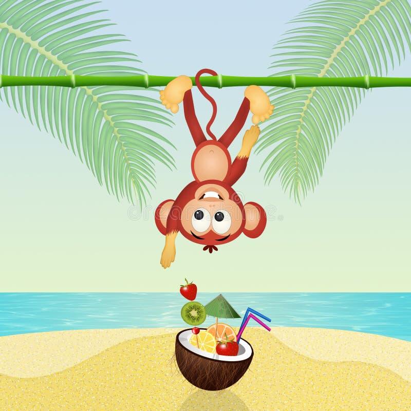 Affe und Cocktail in der Kokosnuss lizenzfreie abbildung