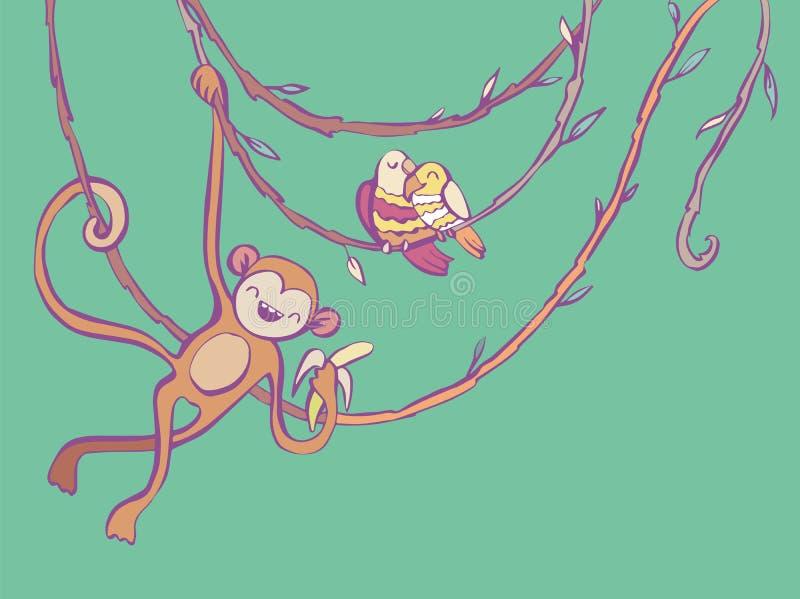 Affe und Papageien auf Kriechpflanzen vector Illustration in der Karikaturart lizenzfreie abbildung