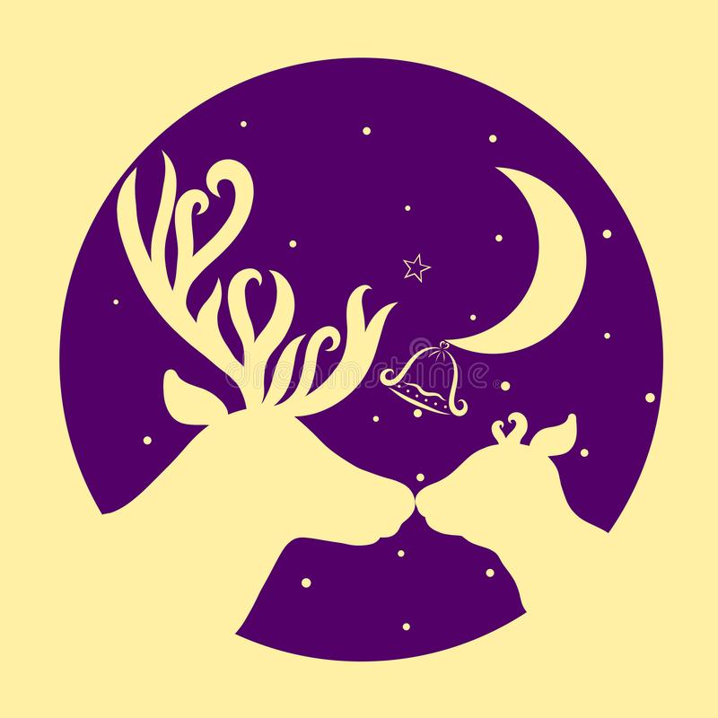 Affectionate animals, two deer, a colorful background, the moon. And a bell royalty free illustration