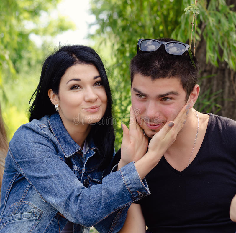 Affectionate attractive young couple stock photography