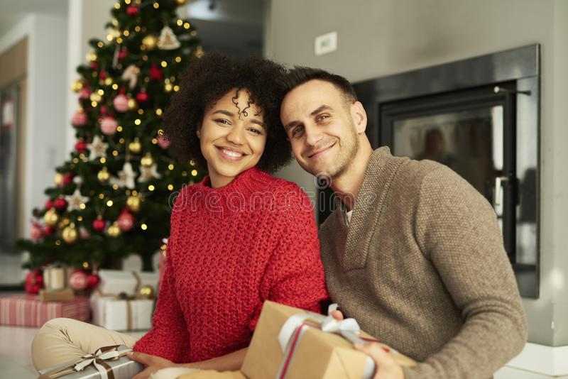 Affectionate couple ready for Christmas royalty free stock image