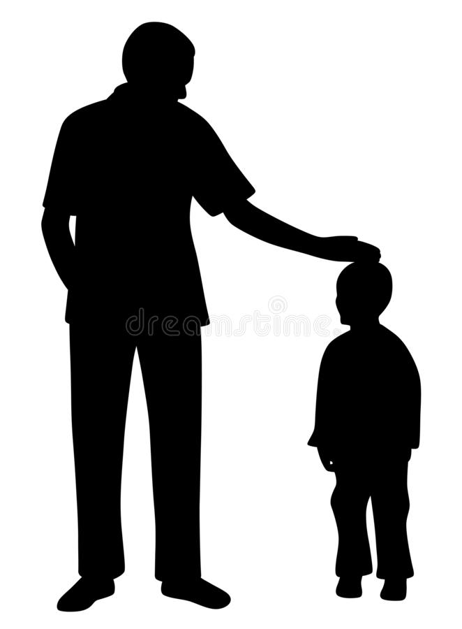 Affectionate father caressing his son. Illustration silhouette of an affectionate father caressing his son. Isolated white background. EPS file available stock illustration