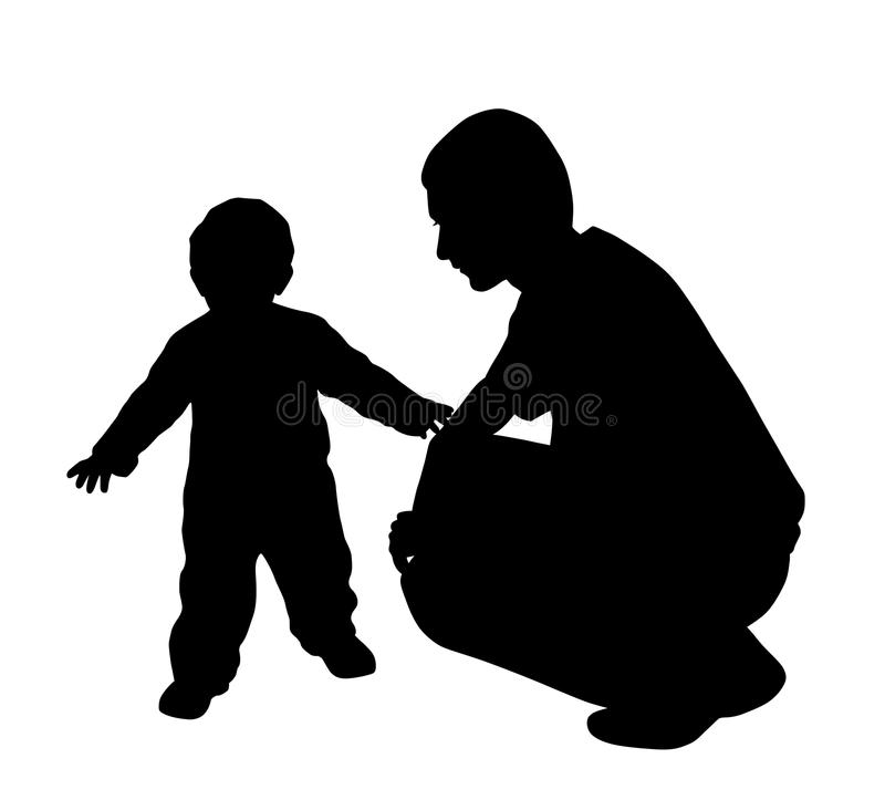 Affectionate father looking at his baby walking. Illustration of an affectionate father looking at his baby walking. Isolated white background. EPS file vector illustration