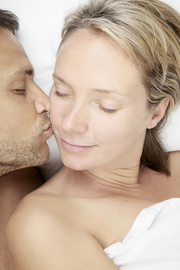 Affectionate kiss stock photography