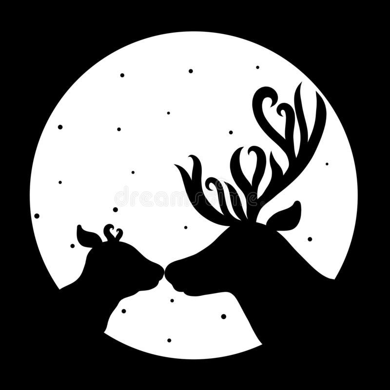 Affectionate kiss and care, deer family silhouettes.  royalty free illustration