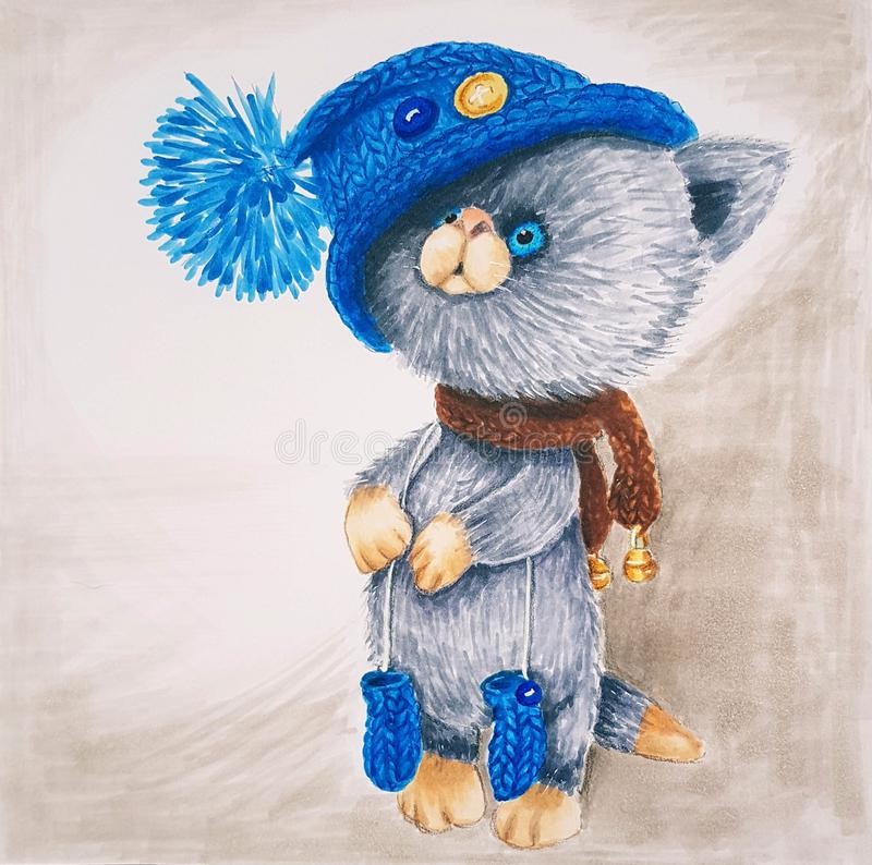 Affectionate kitten in a blue hat with a pompon.  royalty free illustration