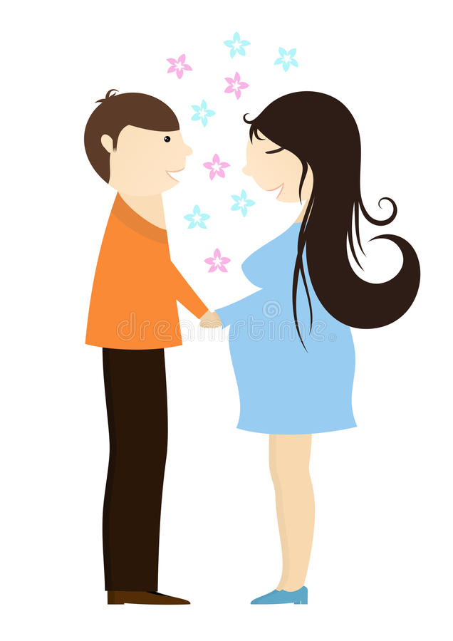 Affectionate man holding his pregnant wife. Pregnant young families royalty free illustration