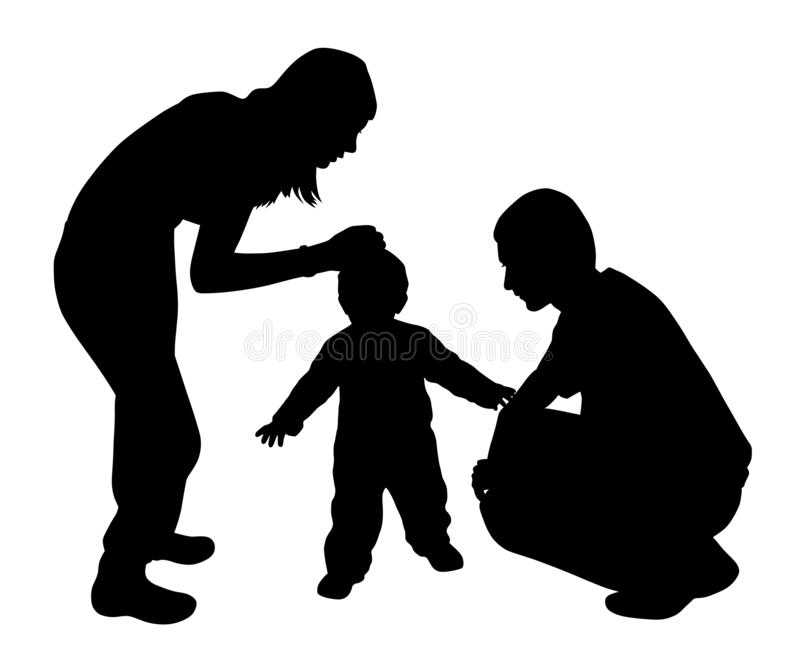 Affectionate mother and father with child. Illustration of affectionate mother and father with child. Mother caressing child while father looking at mother and royalty free illustration