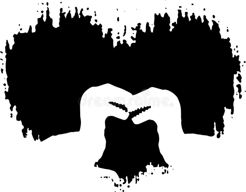Affectionate raptors in front of rugged heart. Vector silhouette. Affectionate raptors in front of rugged heart. Vector, black and white silhouette royalty free illustration