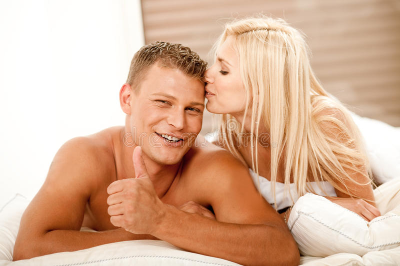 Affectionate smiling couple royalty free stock photography