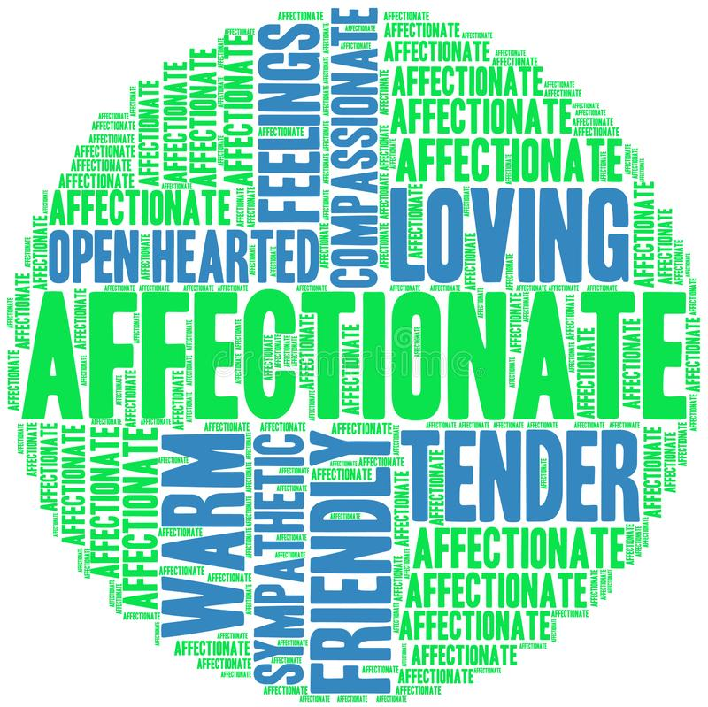 Affectionate Word Cloud. On a white background vector illustration
