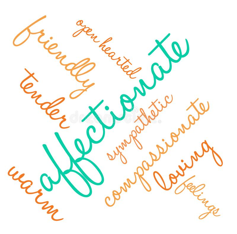 Affectionate Word Cloud. On a white background stock illustration