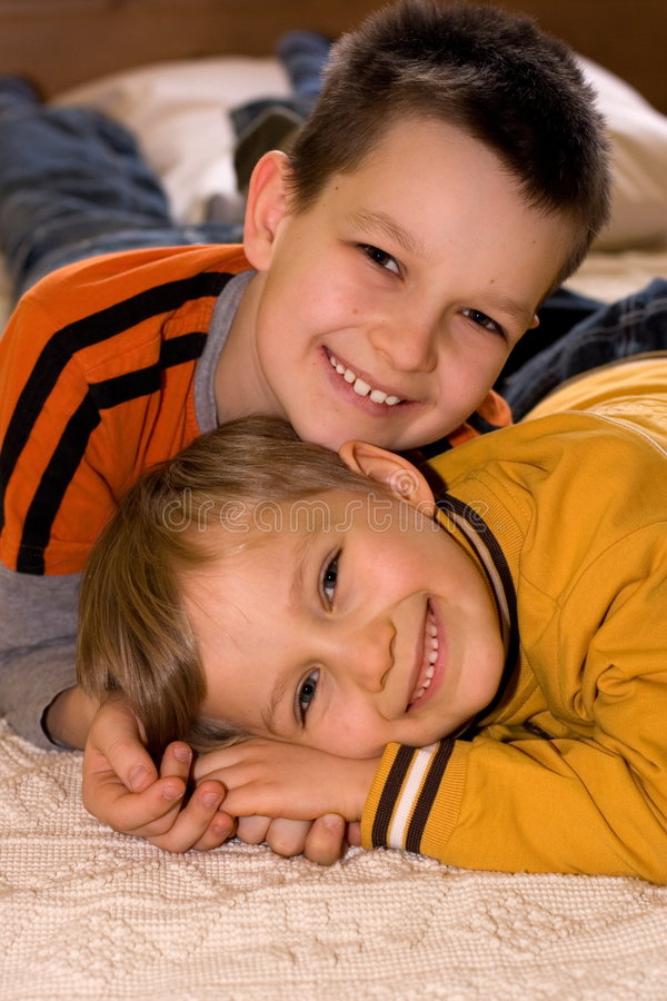 Affectionate Young Brothers royalty free stock photos