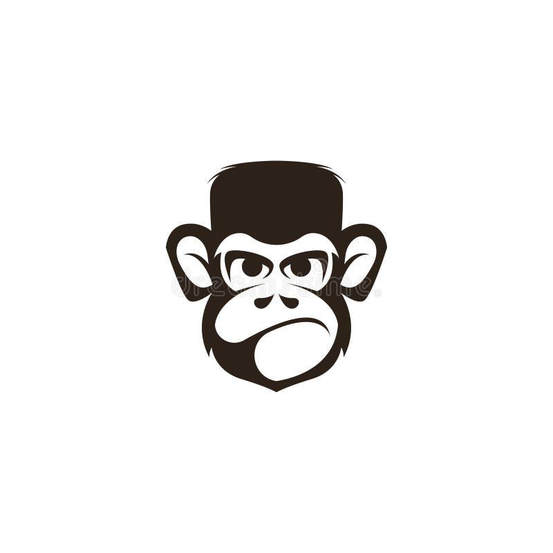 Affehauptlogo-Schablonenvektor Affegesichtslogo-Schablonenvektor Affenlogoschablone stock abbildung