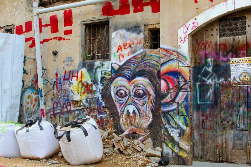 Affehauptstraßenkunst-Hauserneuerung, Florentin, Tel Aviv lizenzfreies stockbild
